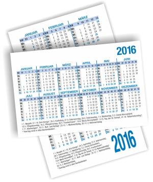 Kalendarium 2016 für Taschenkalender